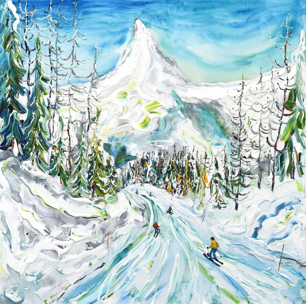 Zermatt Matterhorn ski print painting