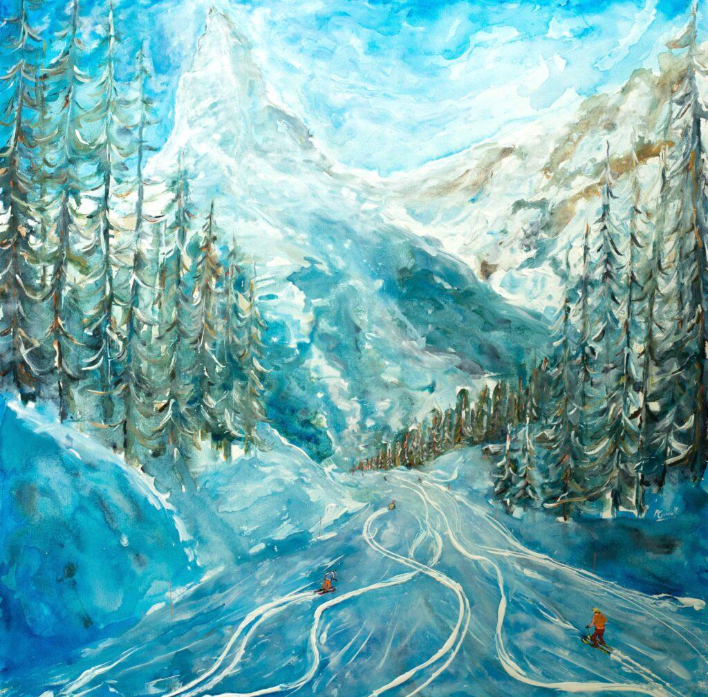 Matterhorn Zermatt Ski Painting and Poster