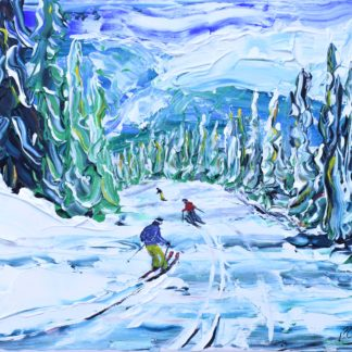 Whistler skiing in the woods ski painting