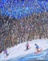 Vermont, Bear mountain at Killington Ski Print and Painting. Bright sunny blue bird day skiing through the wooded pistes at Killington. Loads of texture, patterns and colours in the trees as you peak through to see the mountains and pistes behind. Acrylic on canvas 40cm x 50cm