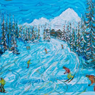 Ski Print skiing below Belle Plagne in Paradiski as you drop into the small wooded area. Lots of colours and some texture in the trees with the wooden chalets in the background. Skiers and snowboarders with ski and board tracks making up the piste patterns. Lovely loose style. Acrlic on art paper, 48 x 34cm