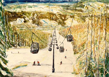 Aspen Ski Painting and Ski Print