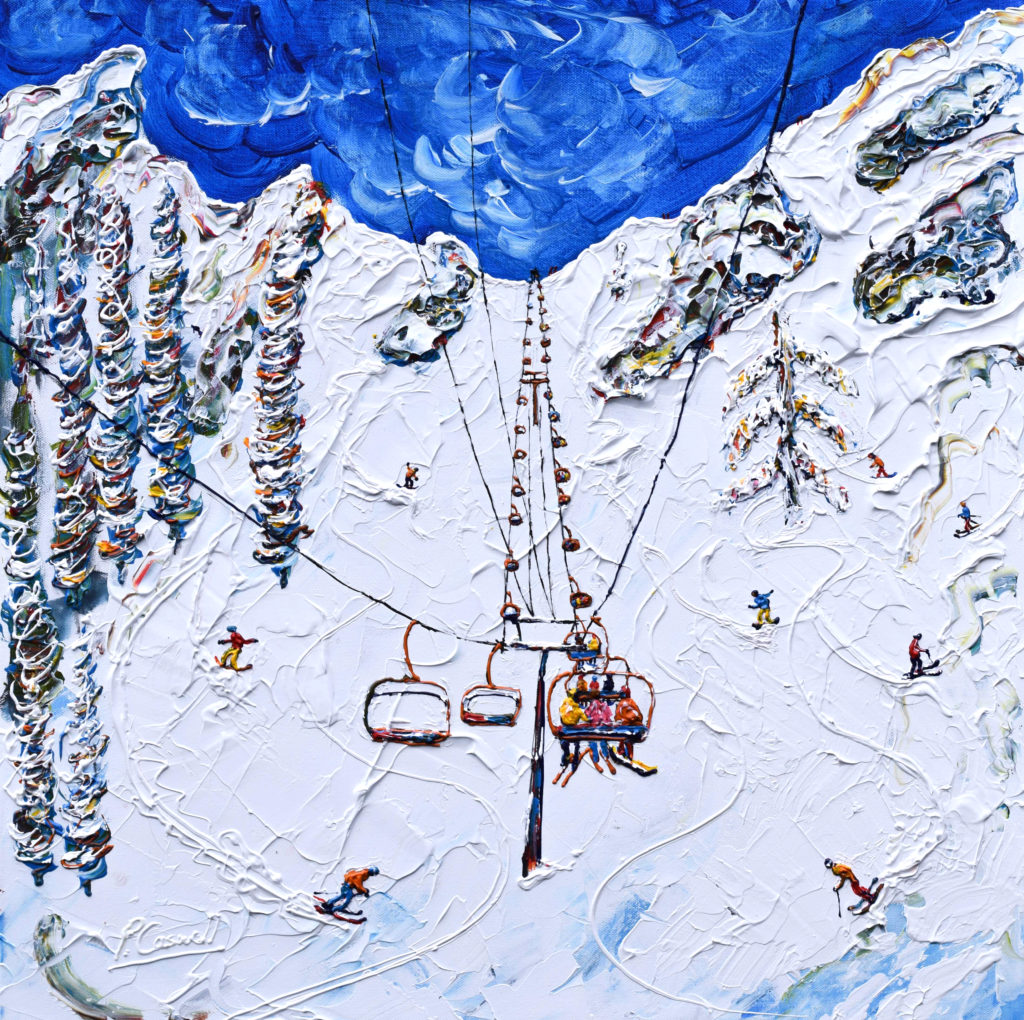Squaw Valley Skiing Painting