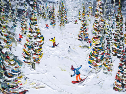Breckenridge Snowboard Painting in the woods