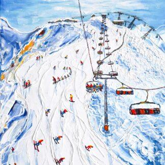La Plagne Roche de Mio Ski Painting