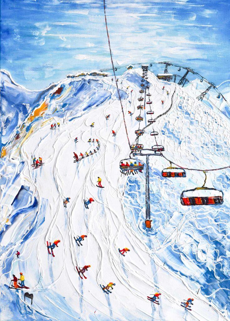 La Plagne Ski Poster Snowboard Poster of Pete's Ski Snowboard Paintings