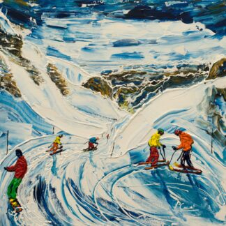 Flaine Grand Massif Ski Painting and Ski print
