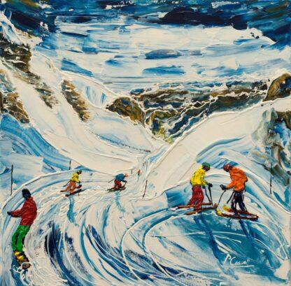 Flaine Grand Massif Ski Painting and Ski print