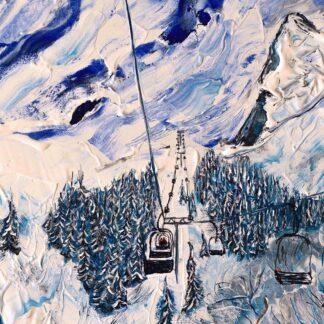 wengen ski painting and ski print