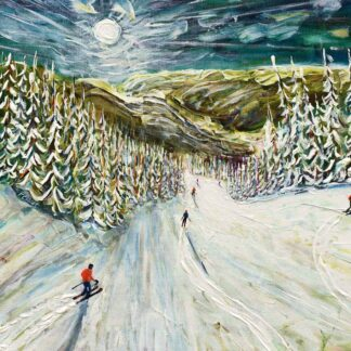 Whistler skiing painting and ski print