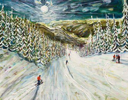Whistler skiing painting and ski print