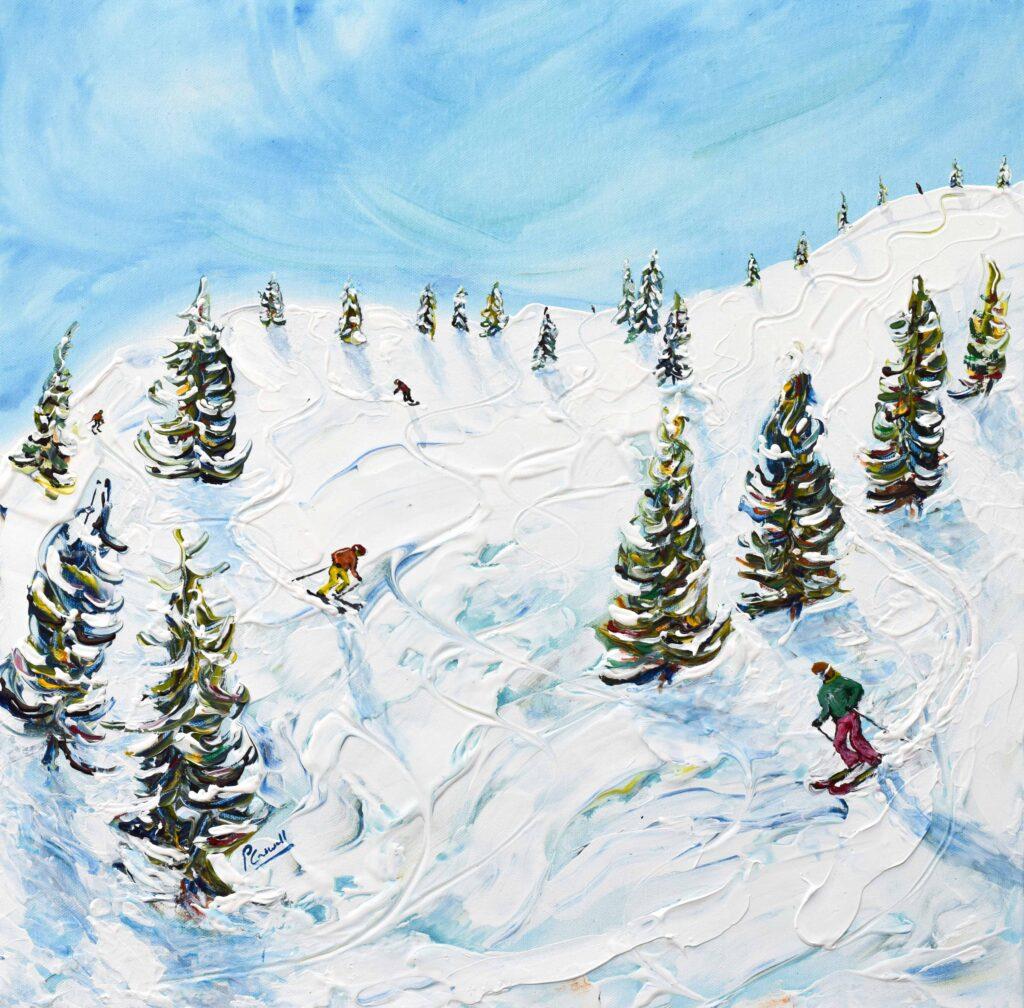 Chamonix Ski Painting and Ski Prints