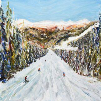 Courchevel 3 valleys ski painting and ski print