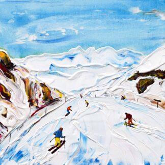 Longest black run in the alps alpe d'huez ski print