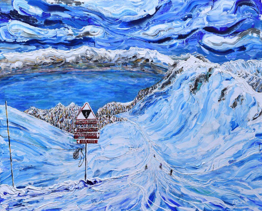 Lake Geneva Ski Painting, Switzerland