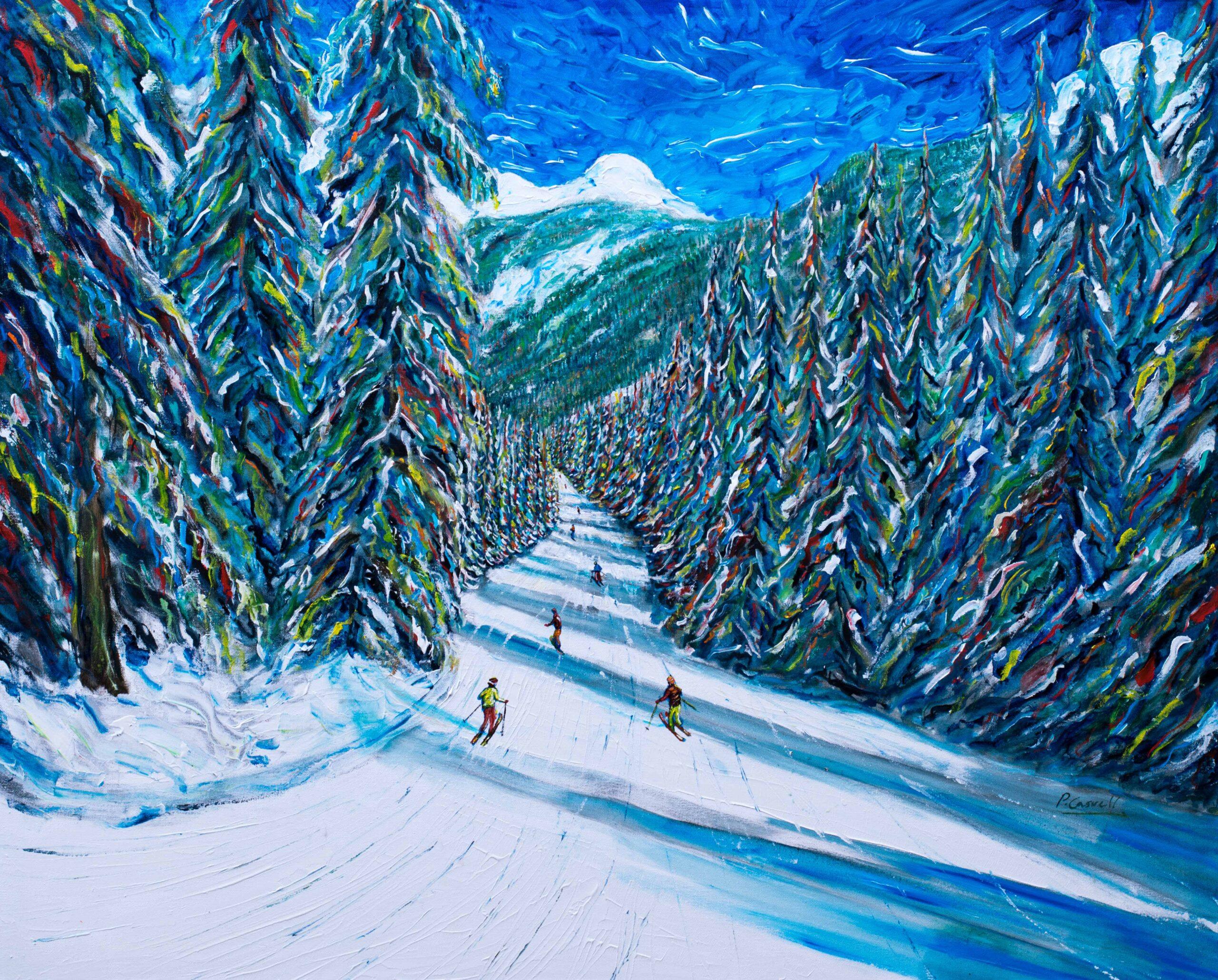 Portes du Soleil Ski Print Ski Painting