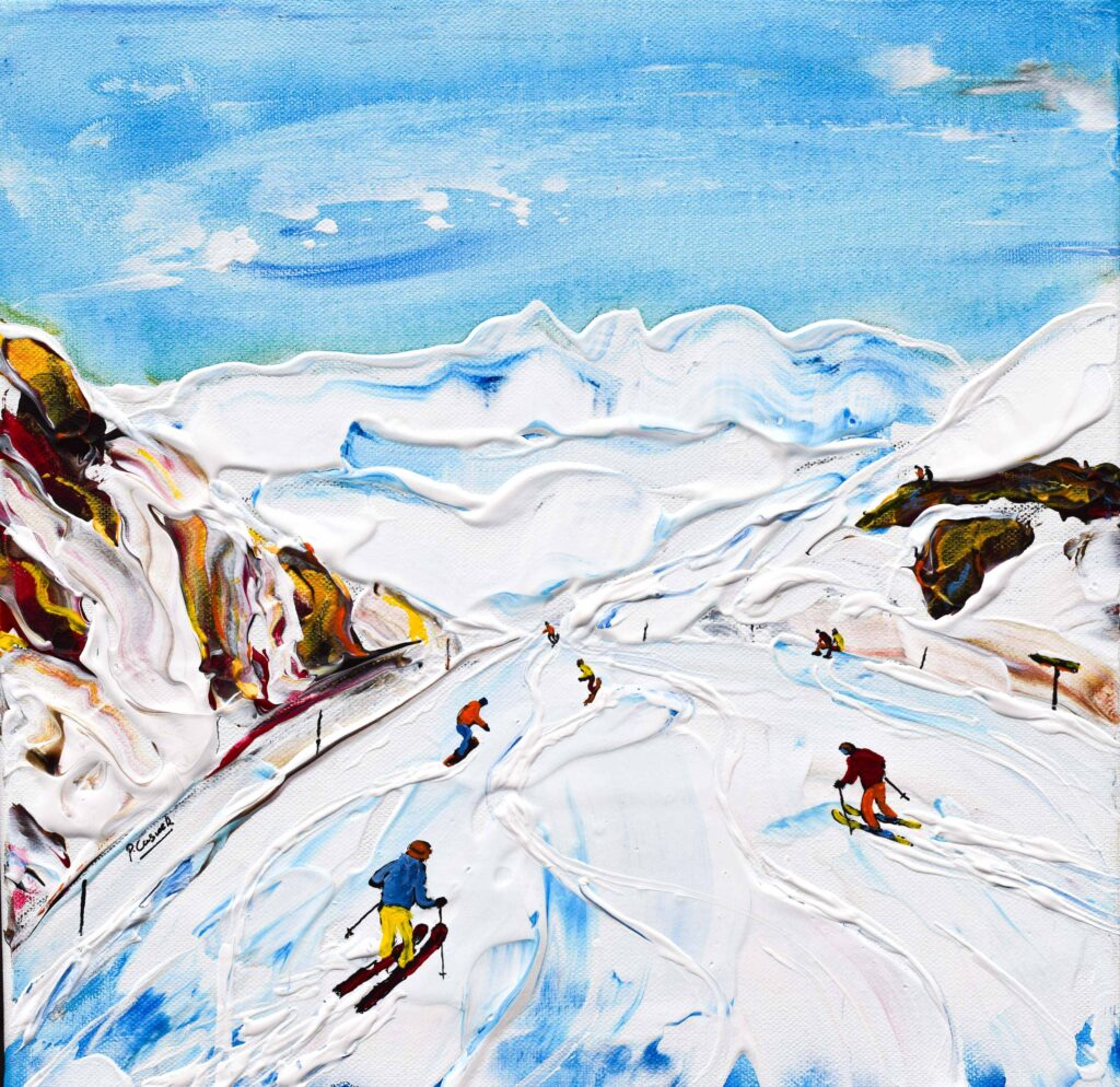 Alpes d'Huez ski painting and ski print. From Pic Blanc in Alpe d'Huez head down the longest Black in Europe Chateau Noir