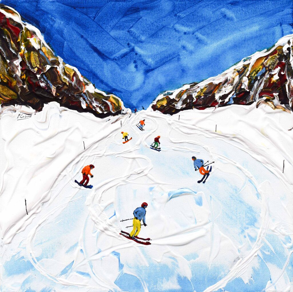 Ski Painting and Ski Print of Les Rousses in Alpe d'Huez was one of my favourite pistes leading onto La Fare and down to the Envirsin lift and pick up some lunch