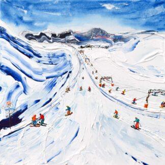 Les Deux Alpes Ski Painting Ski Print