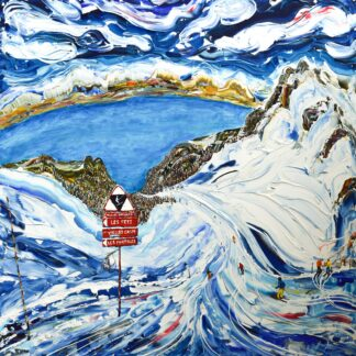 Lake Geneva Thollon Les Memises Ski Painting Print