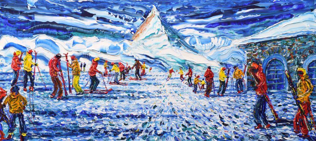 Ski Painting and Ski Prints of Zermatt Gornergrat Bahn Mountain Railway in Switzerland
