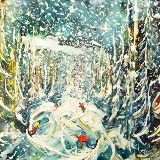 La Plagne Ski Painting and Ski Poster