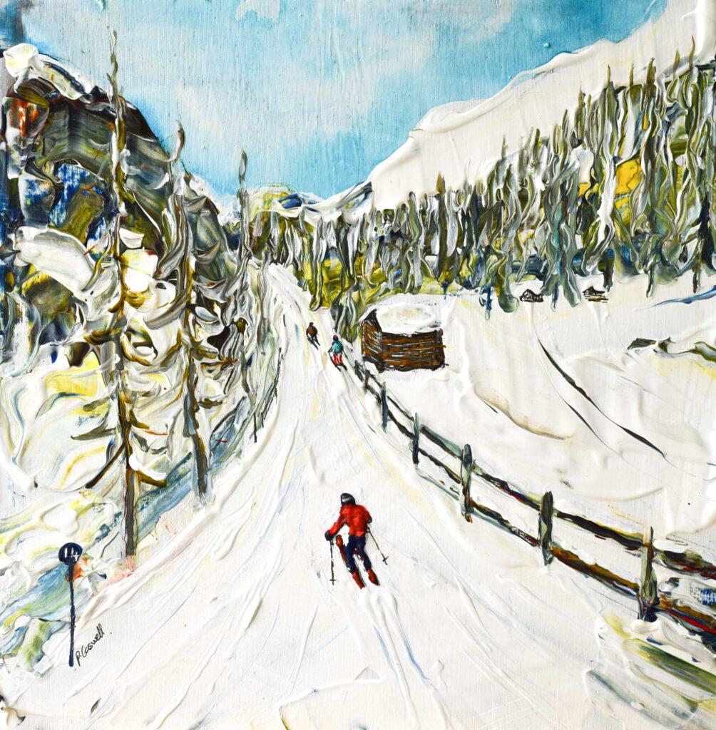 Ischgl and the Silvretta Arena ski area ski art available as ski posters and ski prints