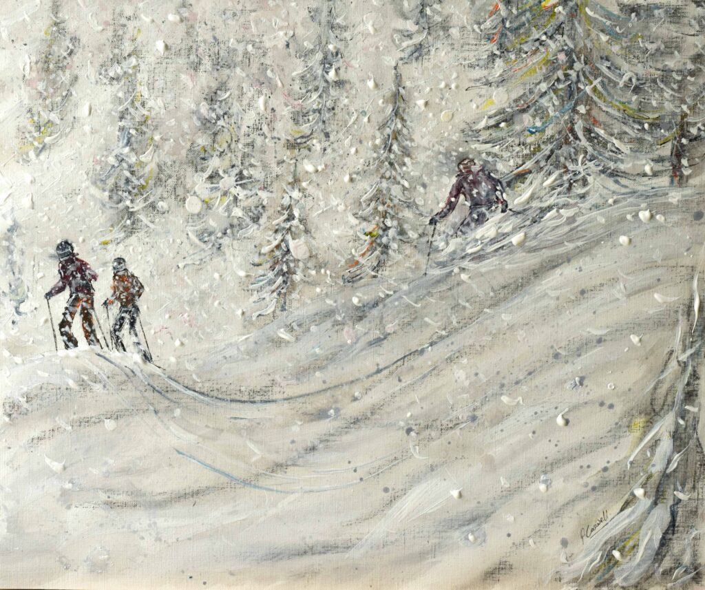 Snowy ski print and ski poster