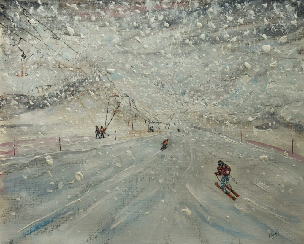 ski poster of snowy ski scene with drag lift