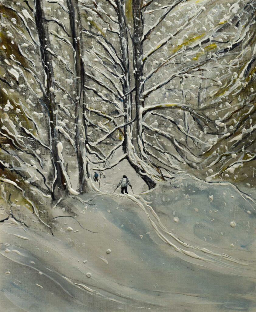 ski poster of snowy ski scene